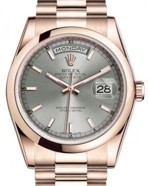 Rolex Day-Date 36 Rose Gold Rhodium Index Dial & Smooth Domed Bezel President Bracelet 118205 - Fresh