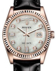 Rolex Day-Date 36 Rose Gold White Mother of Pearl with Oxford Motif Diamond Dial & Fluted Bezel Black Leather Strap 118135 - Fresh