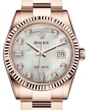 Rolex Day-Date 36 Rose Gold White Mother of Pearl with Oxford Motif Diamond Dial & Fluted Bezel Oyster Bracelet 118235 - Fresh