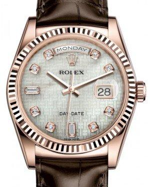Rolex Day-Date 36 Rose Gold White Mother of Pearl with Oxford Motif Diamond Dial & Fluted Bezel Tobacco Leather Strap 118135 - Fresh