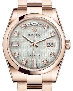 Rolex Day-Date 36 Rose Gold White Mother of Pearl with Oxford Motif Diamond Dial & Smooth Domed Bezel Oyster Bracelet 118205 - Fresh