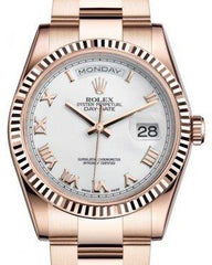 Rolex Day-Date 36 Rose Gold White Roman Dial & Fluted Bezel Oyster Bracelet 118235 - Fresh
