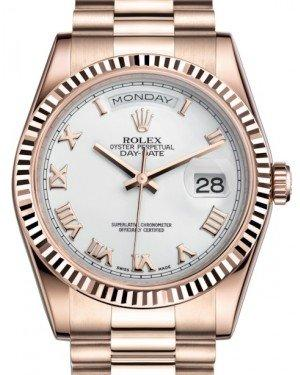 Rolex Day-Date 36 Rose Gold White Roman Dial & Fluted Bezel President Bracelet 118235 - Fresh