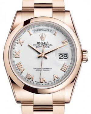 Rolex Day-Date 36 Rose Gold White Roman Dial & Smooth Domed Bezel Oyster Bracelet 118205 - Fresh
