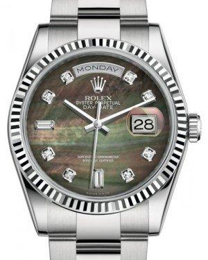 Rolex Day-Date 36 White Gold Black Mother of Pearl Diamond Dial & Fluted Bezel Oyster Bracelet 118239 - Fresh