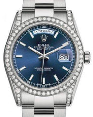 Rolex Day-Date 36 White Gold Blue Index Dial & Diamond Set Case & Bezel Oyster Bracelet 118389 - Fresh