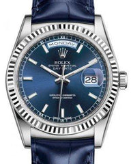 Rolex Day-Date 36 White Gold Blue Index Dial & Fluted Bezel Blue Leather Strap 118139 - Fresh