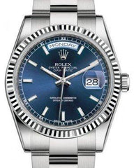 Rolex Day-Date 36 White Gold Blue Index Dial & Fluted Bezel Oyster Bracelet 118239 - Fresh
