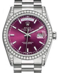 Rolex Day-Date 36 White Gold Cherry Index Dial & Diamond Set Case & Bezel President Bracelet 118389 - Fresh