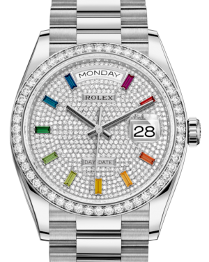 Rolex Day-Date 36 White Gold Diamond Paved Rainbow Colored Sapphires Dial & Diamond Bezel President Bracelet 128239RBR - Fresh