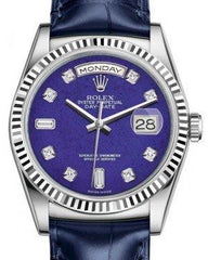Rolex Day-Date 36 White Gold Lapis Lazuli Diamond Dial & Fluted Bezel Blue Leather Strap 118139 - Fresh