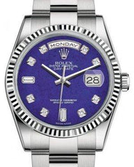 Rolex Day-Date 36 White Gold Lapis Lazuli Diamond Dial & Fluted Bezel Oyster Bracelet 118239 - Fresh