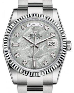 Rolex Day-Date 36 White Gold Meteorite Diamond Dial & Fluted Bezel Oyster Bracelet 118239 - Fresh