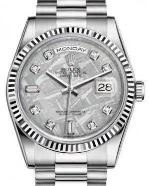 Rolex Day-Date 36 White Gold Meteorite Diamond Dial & Fluted Bezel President Bracelet 118239 - Fresh