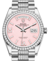 Rolex Day-Date 36 White Gold Pink Opal Diamond Dial & Diamond Bezel Diamond Set President Bracelet 128239RBR - Fresh