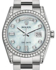 Rolex Day-Date 36 White Gold Platinum Mother of Pearl with Oxford Motif Diamond Dial & Diamond Set Case & Bezel Oyster Bracelet 118389 - Fresh