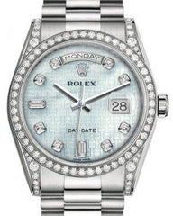 Rolex Day-Date 36 White Gold Platinum Mother of Pearl with Oxford Motif Diamond Dial & Diamond Set Case & Bezel President Bracelet 118389 - Fresh
