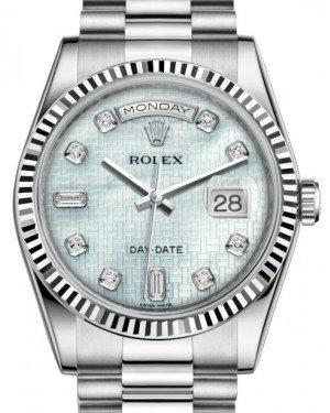 Rolex Day-Date 36 White Gold Platinum Mother of Pearl with Oxford Motif Diamond Dial & Fluted Bezel President Bracelet 118239 - Fresh