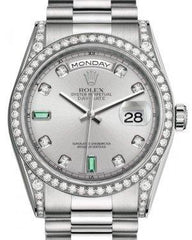 Rolex Day-Date 36 White Gold Rhodium Diamond & Emeralds Dial & Diamond Set Case & Bezel President Bracelet 118389 - Fresh