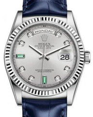 Rolex Day-Date 36 White Gold Rhodium Diamond & Emeralds Dial & Fluted Bezel Blue Leather Strap 118139 - Fresh