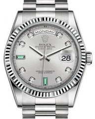 Rolex Day-Date 36 White Gold Rhodium Diamond & Emeralds Dial & Fluted Bezel President Bracelet 118239 - Fresh