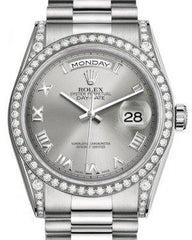 Rolex Day-Date 36 White Gold Rhodium Roman Dial & Diamond Set Case & Bezel President Bracelet 118389 - Fresh