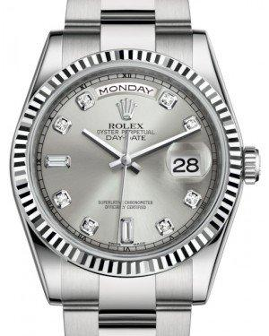 Rolex Day-Date 36 White Gold Silver Diamond Dial & Fluted Bezel Oyster Bracelet 118239 - Fresh