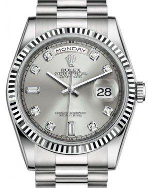 Rolex Day-Date 36 White Gold Silver Diamond Dial & Fluted Bezel President Bracelet 118239 - Fresh