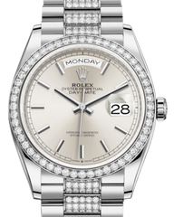 Rolex Day-Date 36 White Gold Silver Index Dial & Diamond Bezel Diamond Set President Bracelet 128239RBR - Fresh