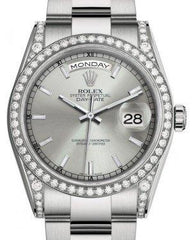 Rolex Day-Date 36 White Gold Silver Index Dial & Diamond Set Case & Bezel Oyster Bracelet 118389 - Fresh