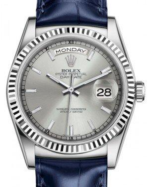 Rolex Day-Date 36 White Gold Silver Index Dial & Fluted Bezel Blue Leather Strap 118139 - Fresh
