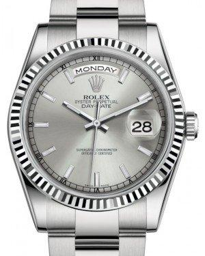 Rolex Day-Date 36 White Gold Silver Index Dial & Fluted Bezel Oyster Bracelet 118239 - Fresh