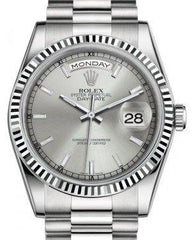 Rolex Day-Date 36 White Gold Silver Index Dial & Fluted Bezel President Bracelet 118239 - Fresh
