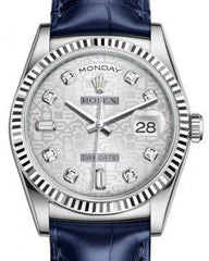 Rolex Day-Date 36 White Gold Silver Jubilee Diamond Dial & Fluted Bezel Blue Leather Strap 118139 - Fresh