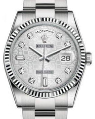 Rolex Day-Date 36 White Gold Silver Jubilee Diamond Dial & Fluted Bezel Oyster Bracelet 118239 - Fresh