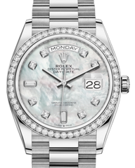 Rolex Day-Date 36 White Gold White Mother of Pearl Diamond Dial & Diamond Bezel President Bracelet 128239RBR - Fresh