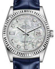 Rolex Day-Date 36 White Gold White Mother of Pearl Diamond Dial & Fluted Bezel Blue Leather Strap 118139 - Fresh