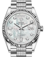 Rolex Day-Date 36 White Gold White Mother of Pearl Diamond Dial & Fluted Bezel Diamond Set President Bracelet 128239 - Fresh