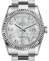 Rolex Day-Date 36 White Gold White Mother of Pearl Diamond Dial & Fluted Bezel Oyster Bracelet 118239 - Fresh