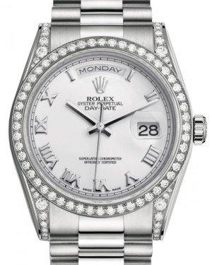 Rolex Day-Date 36 White Gold White Roman Dial & Diamond Set Case & Bezel President Bracelet 118389 - Fresh