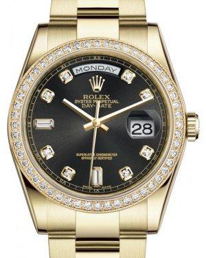 Rolex Day-Date 36 Yellow Gold Black Diamond Dial & Diamond Bezel Oyster Bracelet 118348 - Fresh