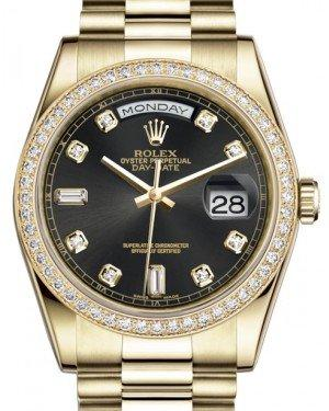 Rolex Day-Date 36 Yellow Gold Black Diamond Dial & Diamond Bezel President Bracelet 118348 - Fresh