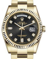 Rolex Day-Date 36 Yellow Gold Black Diamond Dial & Fluted Bezel Oyster Bracelet 118238 - Fresh