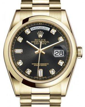 Rolex Day-Date 36 Yellow Gold Black Diamond Dial & Smooth Domed Bezel President Bracelet 118208 - Fresh