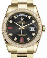 Rolex Day-Date 36 Yellow Gold Black Diamond & Rubies Dial & Diamond Bezel Oyster Bracelet 118348 - Fresh