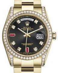 Rolex Day-Date 36 Yellow Gold Black Diamond & Rubies Dial & Diamond Set Case & Bezel Oyster Bracelet 118388 - Fresh