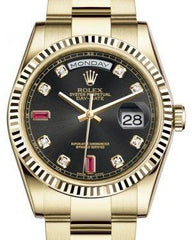 Rolex Day-Date 36 Yellow Gold Black Diamond & Rubies Dial & Fluted Bezel Oyster Bracelet 118238 - Fresh