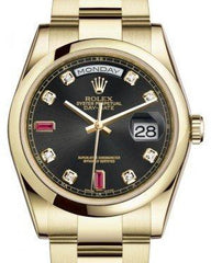 Rolex Day-Date 36 Yellow Gold Black Diamond & Rubies Dial & Smooth Domed Bezel Oyster Bracelet 118208 - Fresh