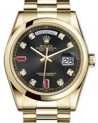 Rolex Day-Date 36 Yellow Gold Black Diamond & Rubies Dial & Smooth Domed Bezel President Bracelet 118208 - Fresh