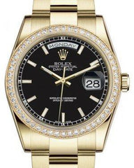 Rolex Day-Date 36 Yellow Gold Black Index Dial & Diamond Bezel Oyster Bracelet 118348 - Fresh